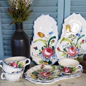 Italian Tea and Biscuit Luncheon Snack Set for 4